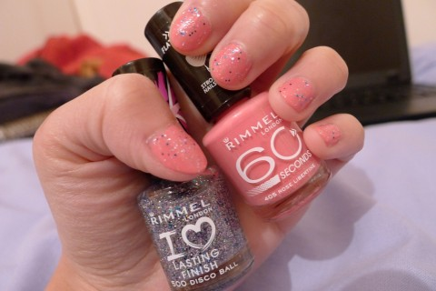 NOTD Rimmel Rose Libertine and Disco Ball 2