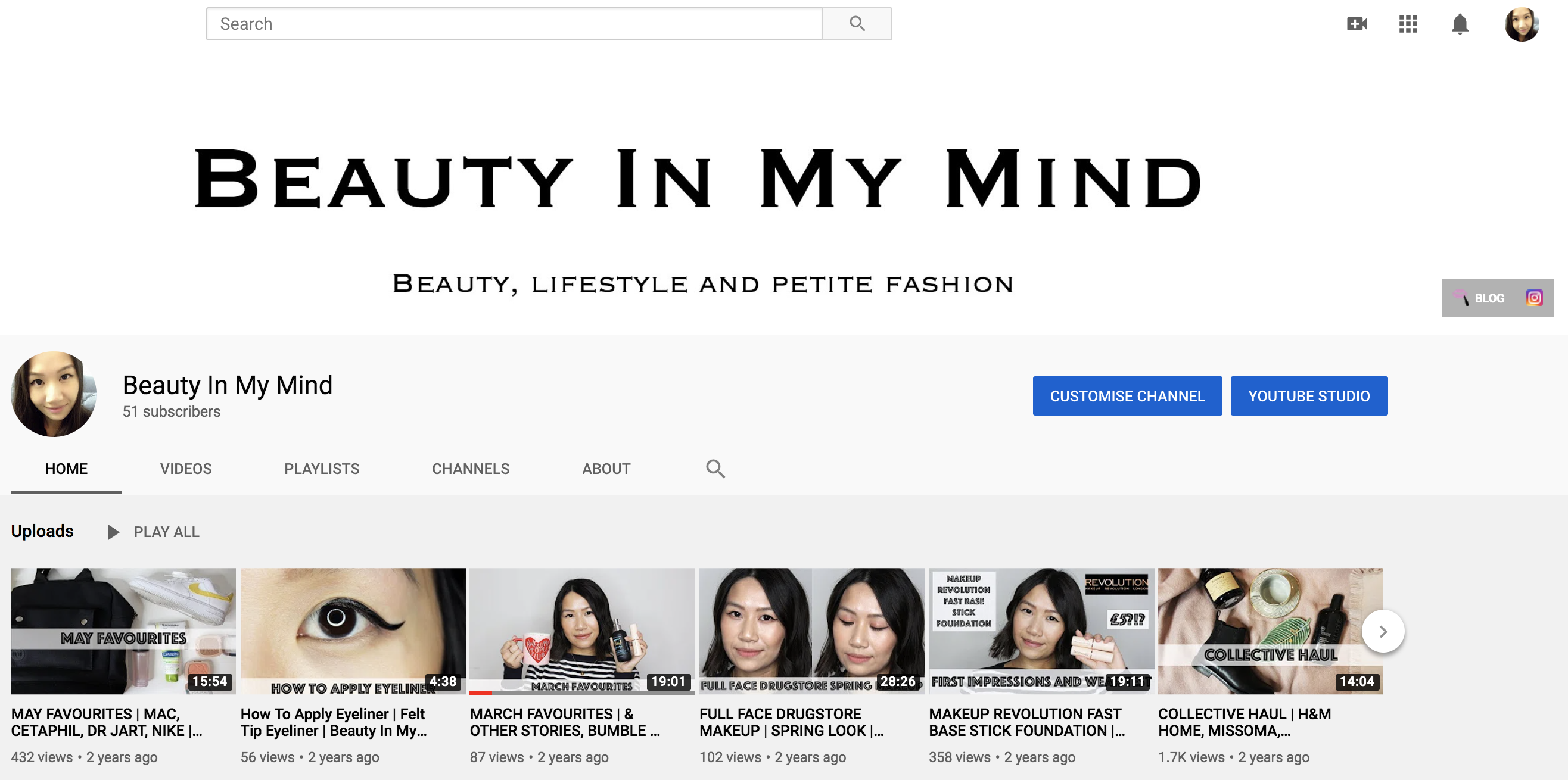 Beauty In My Mind YouTube channel homepage